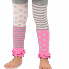Naartjie Girls Stripes with Dots Legging with Ruffle Bottom, Heather Gray NWT