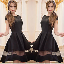 Women's Solid Color Stitching Net Yarn Big Swing Short Dress Round Neck Cocktail