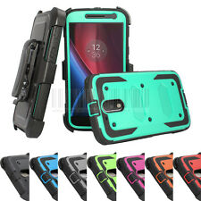 Heavy Duty Hybrid Shockproof Case Kickstand Cover Clip For Moto G4 Plus 4th Gen