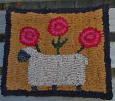 SHEEP AND POSIES Primitive Rug Hooking PATTERN or KIT  WITH #8 CUT WOOL STRIPS