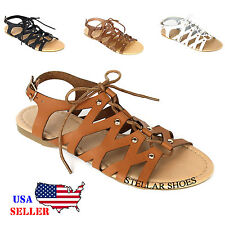 New Women's Strappy T Strap Thong Gladiator Army Leather Tie Flat Sandals