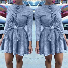 Sexy Womens Denim Jeans Shirt Long Sleeve Bodycon Belted Plus Size Mini Dress
