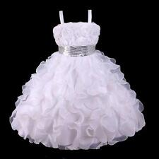 Girls Princess Party Flowergirl Child Birthday Wedding Dress WHITE SIZE 6 7 8 9