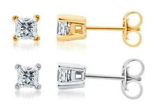 Solid 14k White or Yellow Gold Princess Cut Diamond Solitaire Studs Earrings 1ct