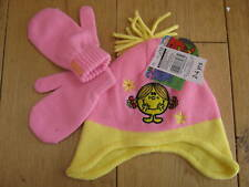 MR MEN LITTLE MISS SUNSHINE PINK KNITTED HAT MITTENS SET 2 TO 4 YEARS NEW