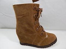 BOOTS~Bearpaw~Hickory Brown SUEDE WEDGE LACE-UP~Granny Ankle~Women 10,11~NIB