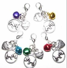PAW PRINT PET COLLAR CHARM DOG WITH BELL
