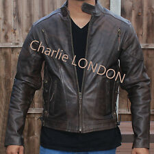Men's Retro Brown Distressed Leather Embossed Cruiser Biker Jacket - Clearance