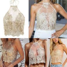 Gold Women Sexy Lace Vest Top Sleeveless Camis Blouse Casual Tank Tops Summer