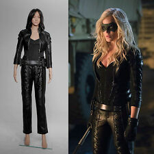 Arrow Black Canary Sara Lance Pleather Jacket Pants Outfit Costume Cosplay