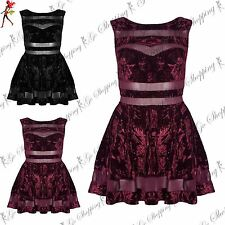 Ladies Low Back Lace Mesh Insert Womens Flared Velvet Velour Midi Skater Dress