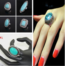 New Tibetan Silver Oval Carved Turquoise Stone Ring Adjustable Charm Jewelry JF
