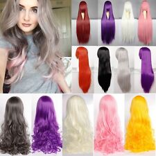 Anime Cosplay Wig Ladies Party Hair Straight Curly Full Wigs Heat Resistant Grey