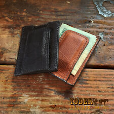 Amish Made Cash Money Clip Wallet in Black or Brown - Magnetic Money Clip