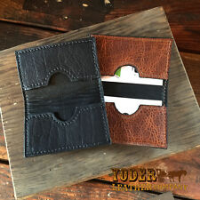 Handmade Amish Leather Business Card Holder Wallet comes in Brown or Black