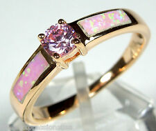 Rose Gold Plated 925 Sterling Silver Ring with Pink Topaz & Pink Fire Opal Inlay