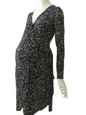 RIPE WOMENS MATERNITY GIA SAPPHIRE DRESS BLACK/WHITE PRINTED JERSEY WRAP DRESS
