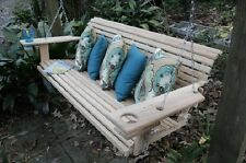 Heavy Duty 4 or 5 Foot Cypress Porch Swing Swings w/ Cupholders