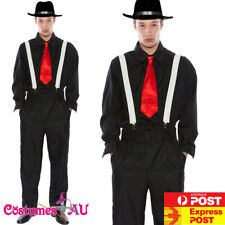 Mens 20s 1920s Gangster Costume Pinstripes Pimp Suit Fancy Dress + HAT Belt Tie
