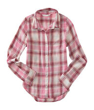 aeropostale kids ps girls' long sleeve plaid woven shirt