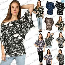 Womens Ladies Print Off The Shoulder Batwing Side Ruched Oversized Baggy Tee Top