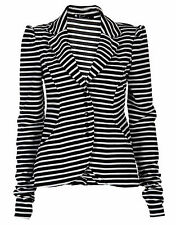 Ladies Women Long Sleeves Striped Five Buttons Blazer Coat Collared Jacket Tops