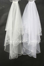 2T White /Ivory Bridal Veil Wedding Veil hand-beaded sequins Edge Veil with comb
