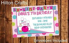 Bowling Party Invites Girls Personalised Birthday Invitations x12 with envelopes