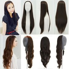 fashion womens wig long straight curly wavy black brown wig hair 3/4 wig clip in