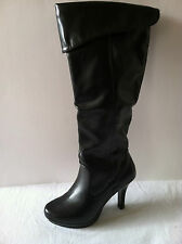 SO Jolie Tall Black Boots Womens Sz.6 Foldover Design Supertall Shaft New