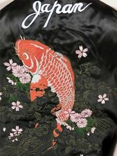 JAPANESE SUKAJAN dragon carp EMBROIDERYCarp embroidery satin JAPAN JACKET NEW