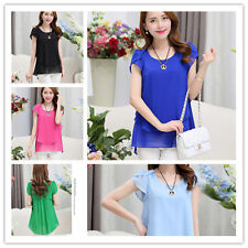 Women Summer Fashion Short-Sleeve Top Medium Style Flouncing Chiffon Blouse