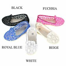 New Girls Baby Infant Lace Crochet Ballet Comfy Slip On Ballerina Loafers Flats