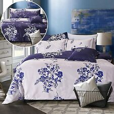 Blue Purple Floral Doona Quilt Duvet Cover Set Reversible Bedding Set All Sizes