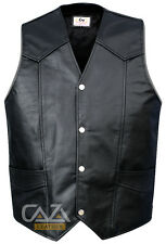 MENS REAL LEATHER BIKER STYLE MOTORCYCLE WAISTCOAT NEW VINTAGE BLACK VEST PLAIN