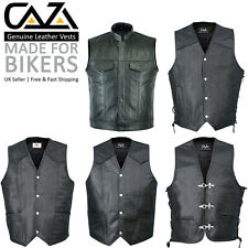 Mens Full Real Cowhide Leather Motorcycle Waistcoat Biker Style Vest, Black