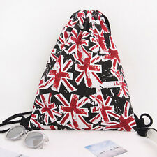 String Drawstring Backpack Cinch Sack Gym Tote Bag Canvas School Sport Pack TO
