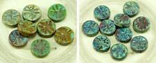 4pcs Picasso Brown Rustic Dragonfly Flat Coin Round Czech Glass Beads 15mm