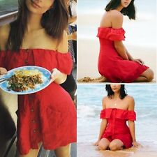Women's Summer Ruffled Off Shoulder Clubwear Beach Dress Cotton Linen Mini Dress