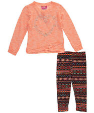 """Girls Luv Pink Little Girls' """"Geo Heart"""" 2-Piece Outfit (Sizes 4 - 6X)"""