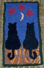 """""""Starstruck Cats"""" Primitive Rug Hooking PATTERN or  KIT WITH CUT WOOL STRIPS"""