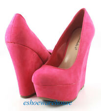 Hot Pink Faux Suede Awesome Hot Look Tower Wedge Platform Pumps