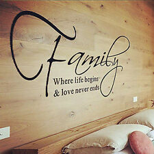 New Family Love Quote Wall Sticker Decal Removable Mural Art Vinyl Home Decor