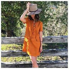 NWT Anthropologie Lace-Up Linen Dress by Maeve sz 2P or 2 Lovely & Adorable!!!