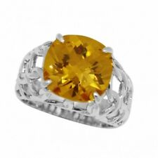 Solitaire Cocktail Ring Sterling Silver 6.84Ct Faceted Cushion Yellow Citrine