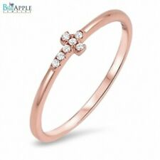 Sideways Cross Ring Sterling Silver Rose Gold Plated Russian CZ Religious Gift
