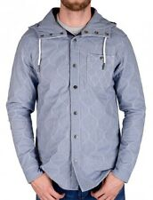 Mens Designer Voi Jeans Dublin Quilted Overshirt In Light Blue 100% Cotton