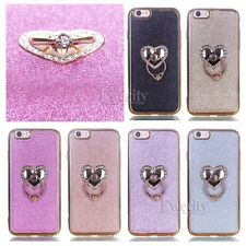 Luxury Deluxe Bling Love Ring Chrome Gel TPU Stand Case Cover For Apple iPhone