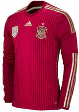 ADIDAS SPAIN LONG SLEEVE HOME JERSEY FIFA WORLD CUP BRAZIL 2014 ESPAÑA Red/Gold