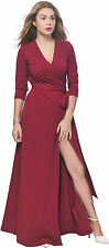 BURGUNDY WOMEN LONG SLEEVE MAXI FULL LENGTH WRAP CROSSOVER DRESS PARTY COCKTAIL
